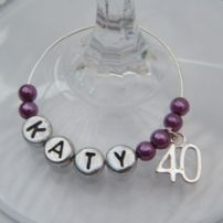 40th Birthday Wine Glass Charms